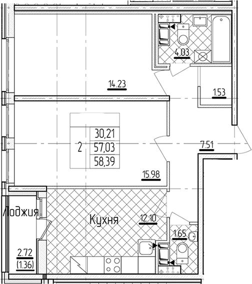 2-комнатная 59 м<sup>2</sup> на 11 этаже