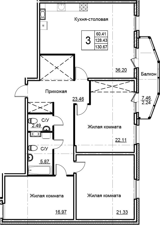 4-комнатная 135 м<sup>2</sup> на 5 этаже