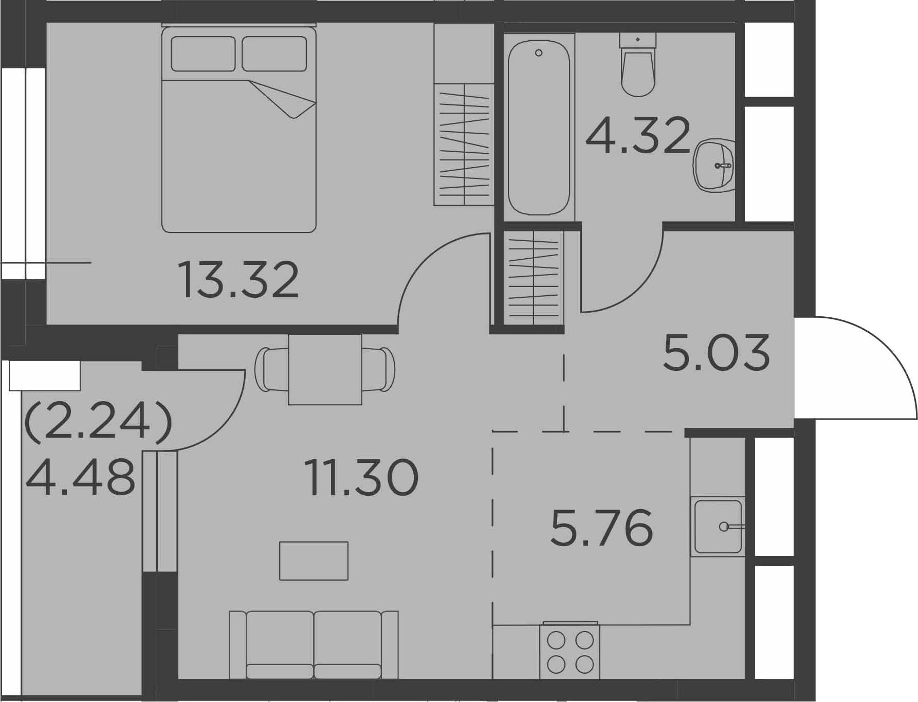 2-к.кв (евро), 44.21 м²