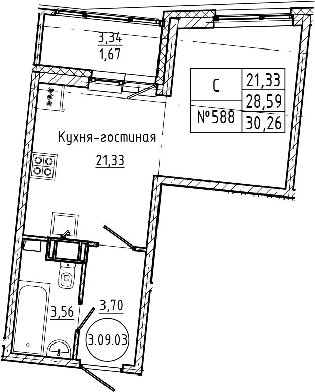 Студия 31 м<sup>2</sup> на 9 этаже