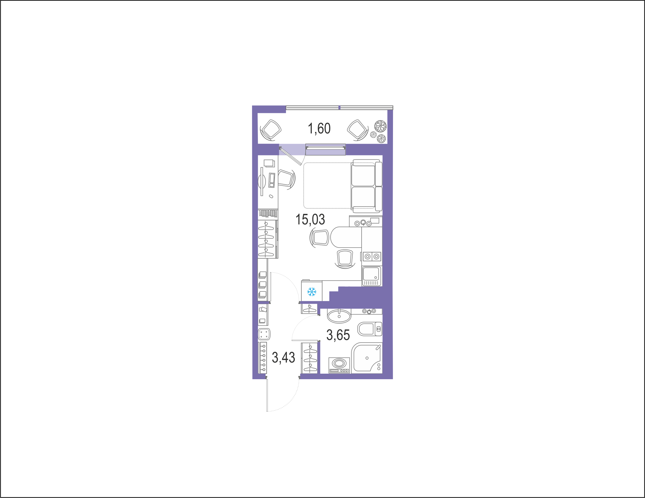 Студия 25 м<sup>2</sup> на 20 этаже