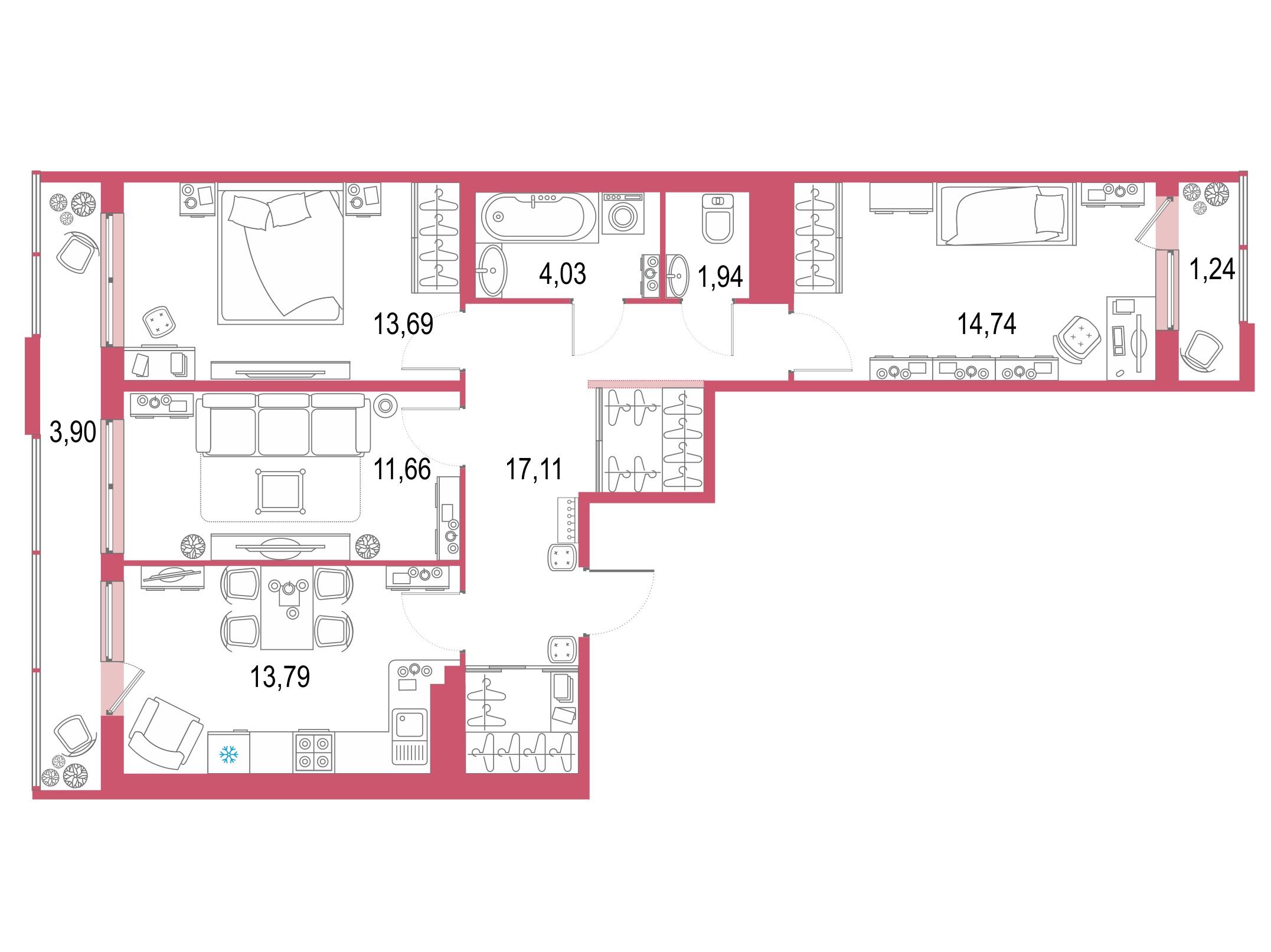 3-комнатная 92 м<sup>2</sup> на 20 этаже