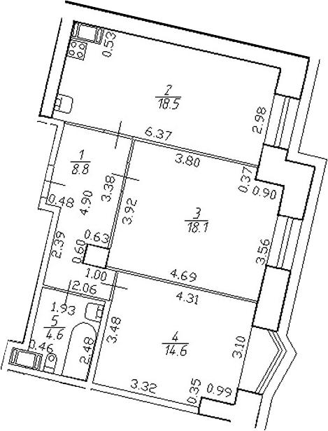 3-комнатная 64 м<sup>2</sup> на 4 этаже