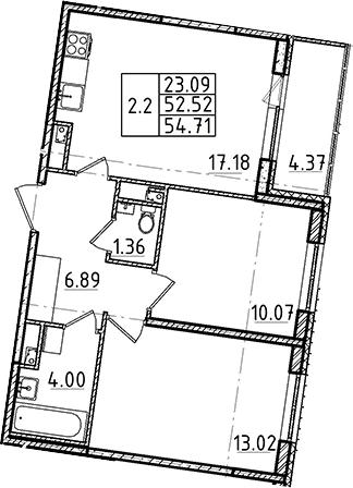 3-комнатная 56 м<sup>2</sup> на 1 этаже