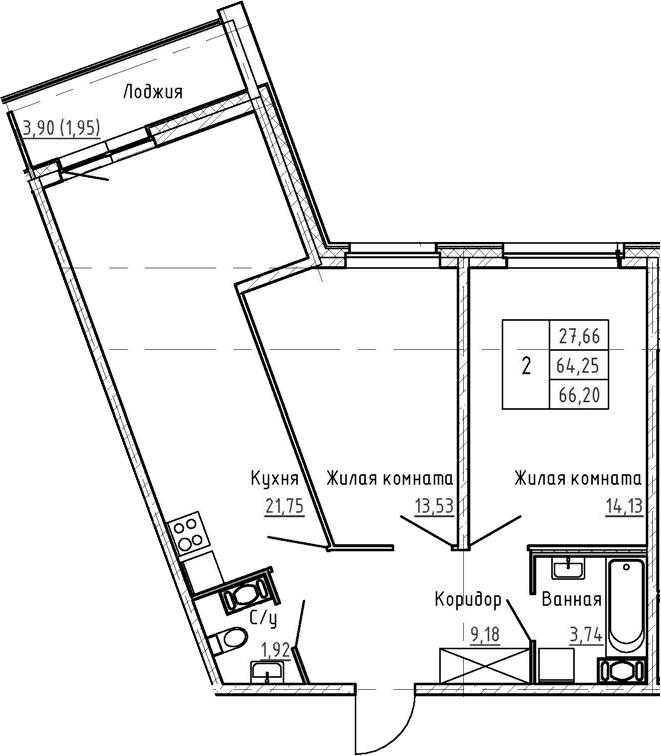 3-комнатная 68 м<sup>2</sup> на 4 этаже