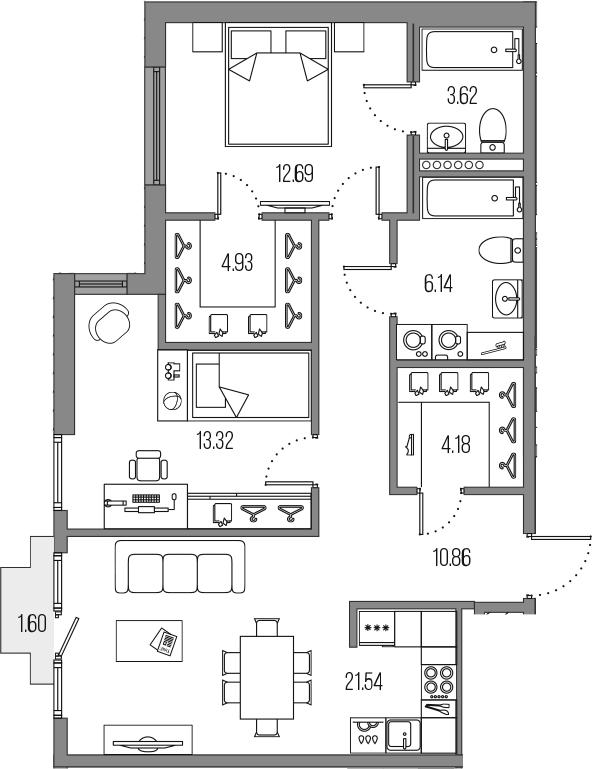 3-комнатная 78 м<sup>2</sup> на 7 этаже