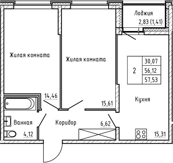 3-комнатная 58 м<sup>2</sup> на 1 этаже