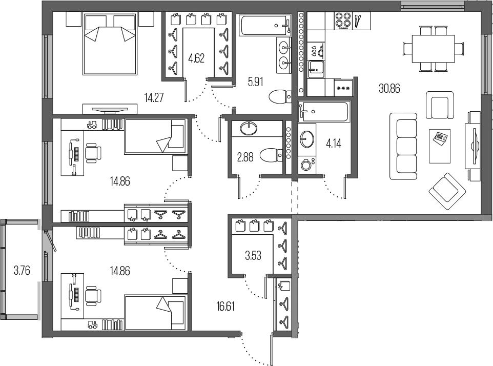 4-комнатная 116 м<sup>2</sup> на 7 этаже