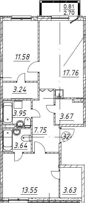3-комнатная 71 м<sup>2</sup> на 2 этаже
