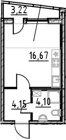 Студия 28 м<sup>2</sup> на 23 этаже