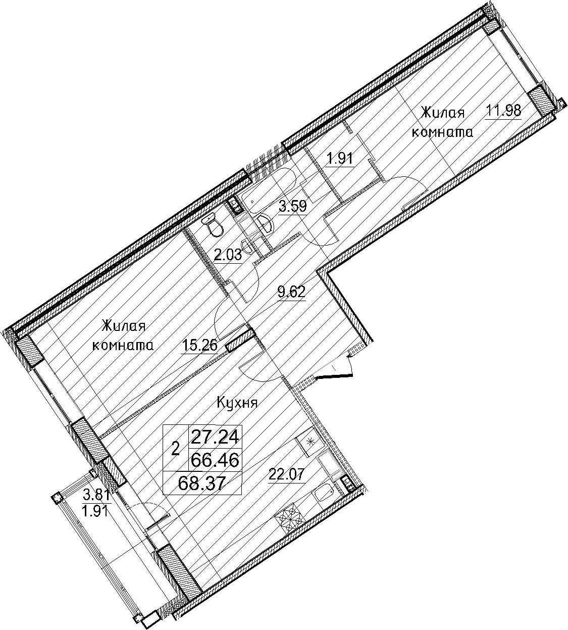 3-к.кв (евро), 70.28 м²