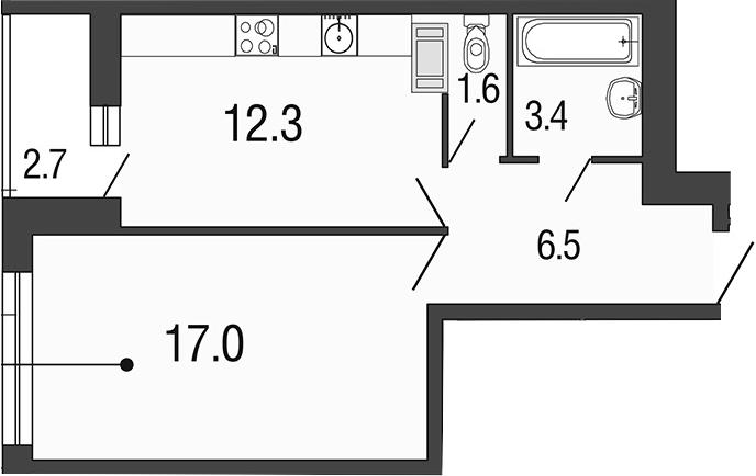 1-комнатная 43 м<sup>2</sup> на 14 этаже