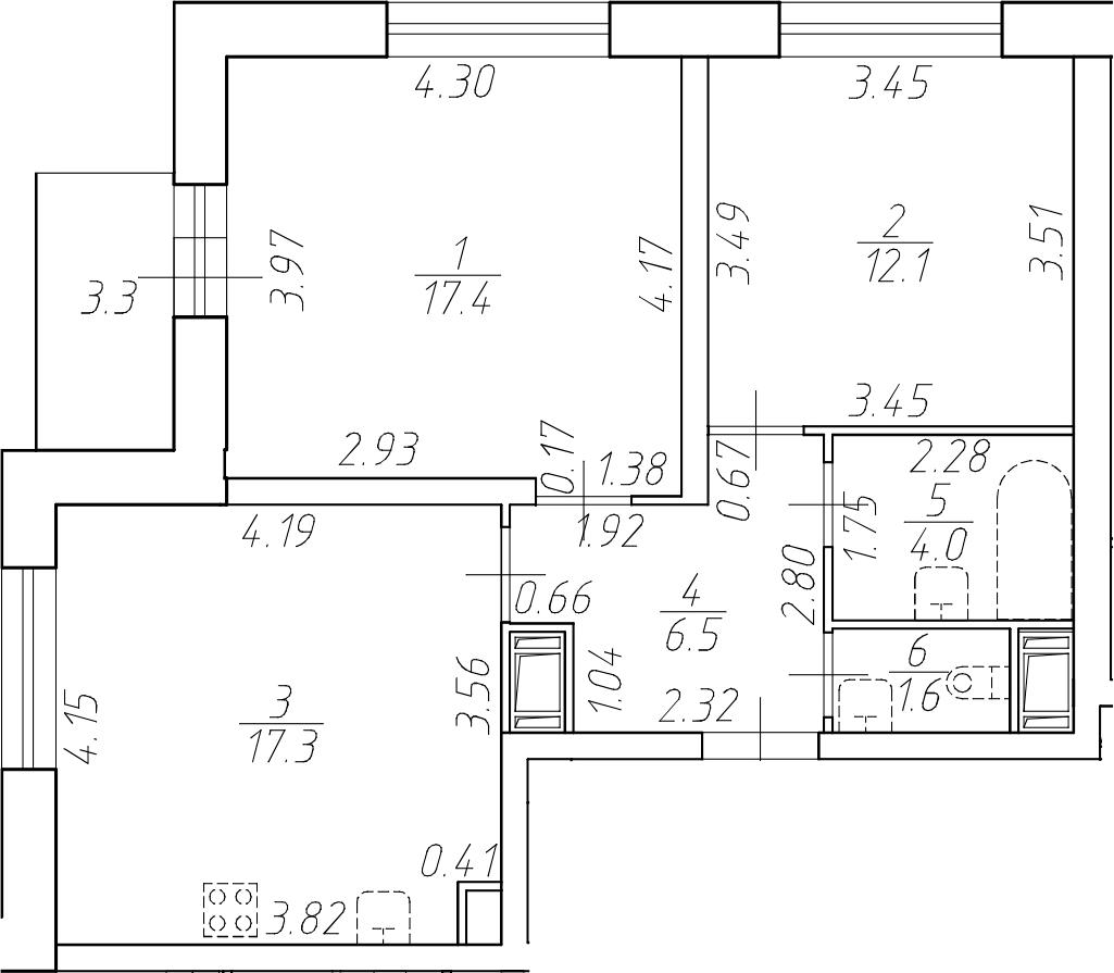 3-комнатная 62 м<sup>2</sup> на 15 этаже