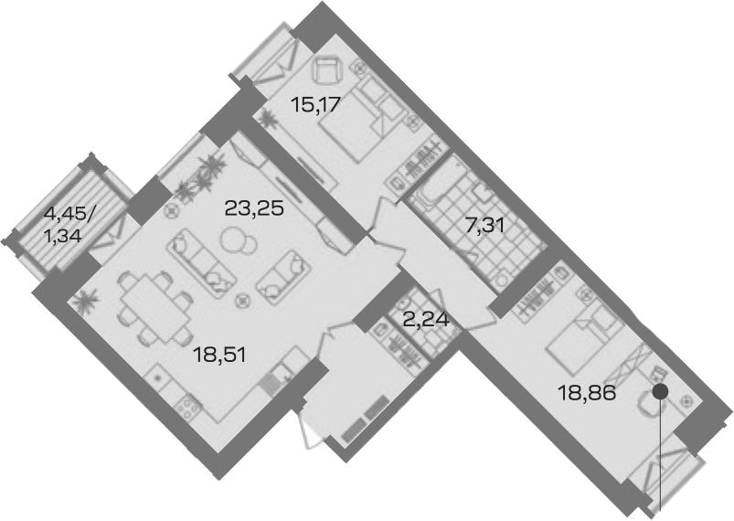 2-комнатная 101 м<sup>2</sup> на 5 этаже