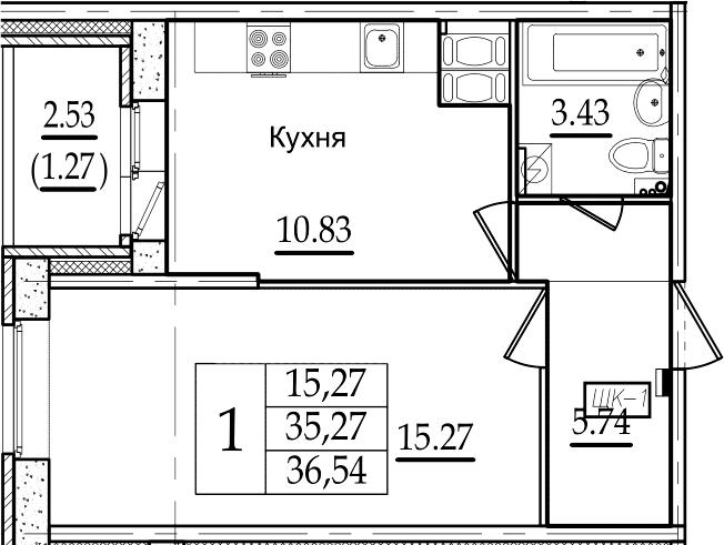 1-комнатная 37 м<sup>2</sup> на 15 этаже