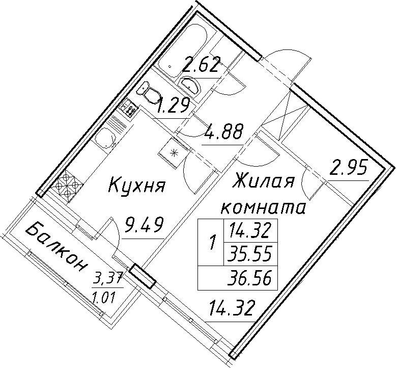 1-комнатная 38 м<sup>2</sup> на 2 этаже