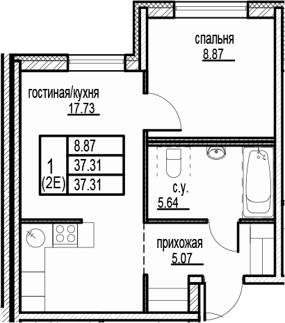 2-к.кв (евро), 37.31 м²