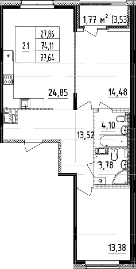 3-комнатная 77 м<sup>2</sup> на 3 этаже