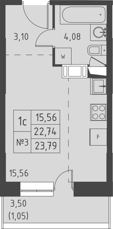 Студия, 26.24 м²