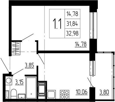 1-к.кв, 35.64 м²
