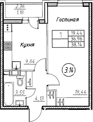 1-комнатная 39 м<sup>2</sup> на 7 этаже