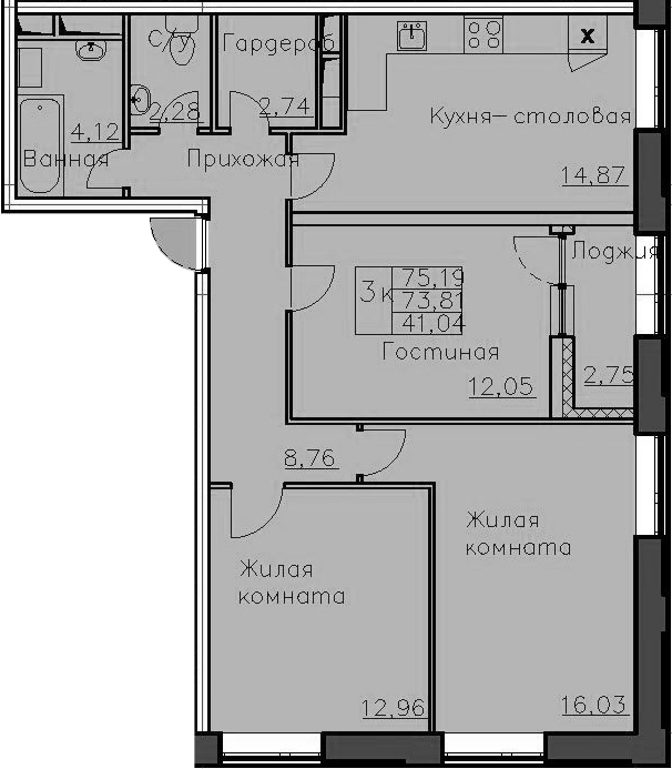 3-к.кв, 76.56 м²