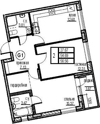 2-к.кв, 58.43 м²
