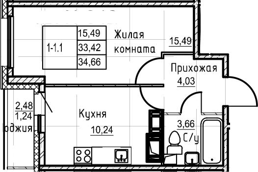1-комнатная 35 м<sup>2</sup> на 21 этаже
