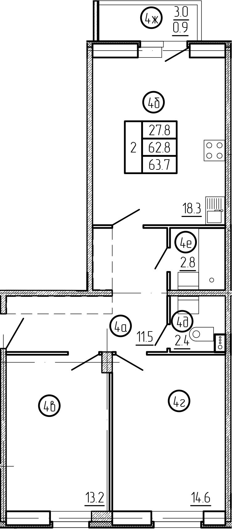 2-комнатная 65 м<sup>2</sup> на 1 этаже