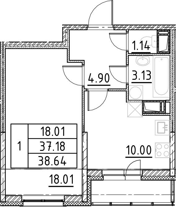 1-к.кв, 42.05 м²