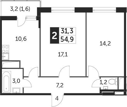 2-к.кв, 56.1 м²