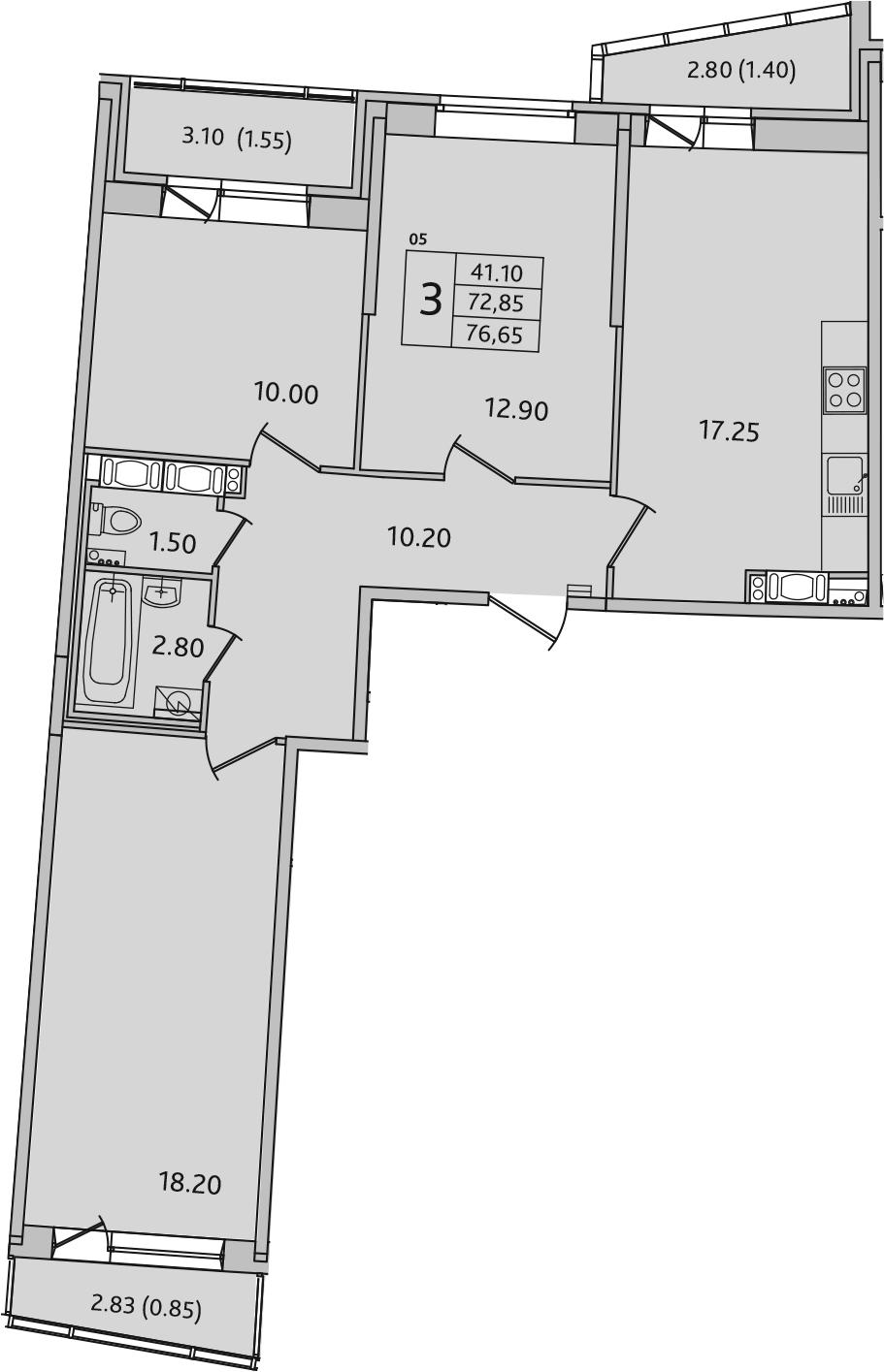 4-комнатная 81 м<sup>2</sup> на 16 этаже
