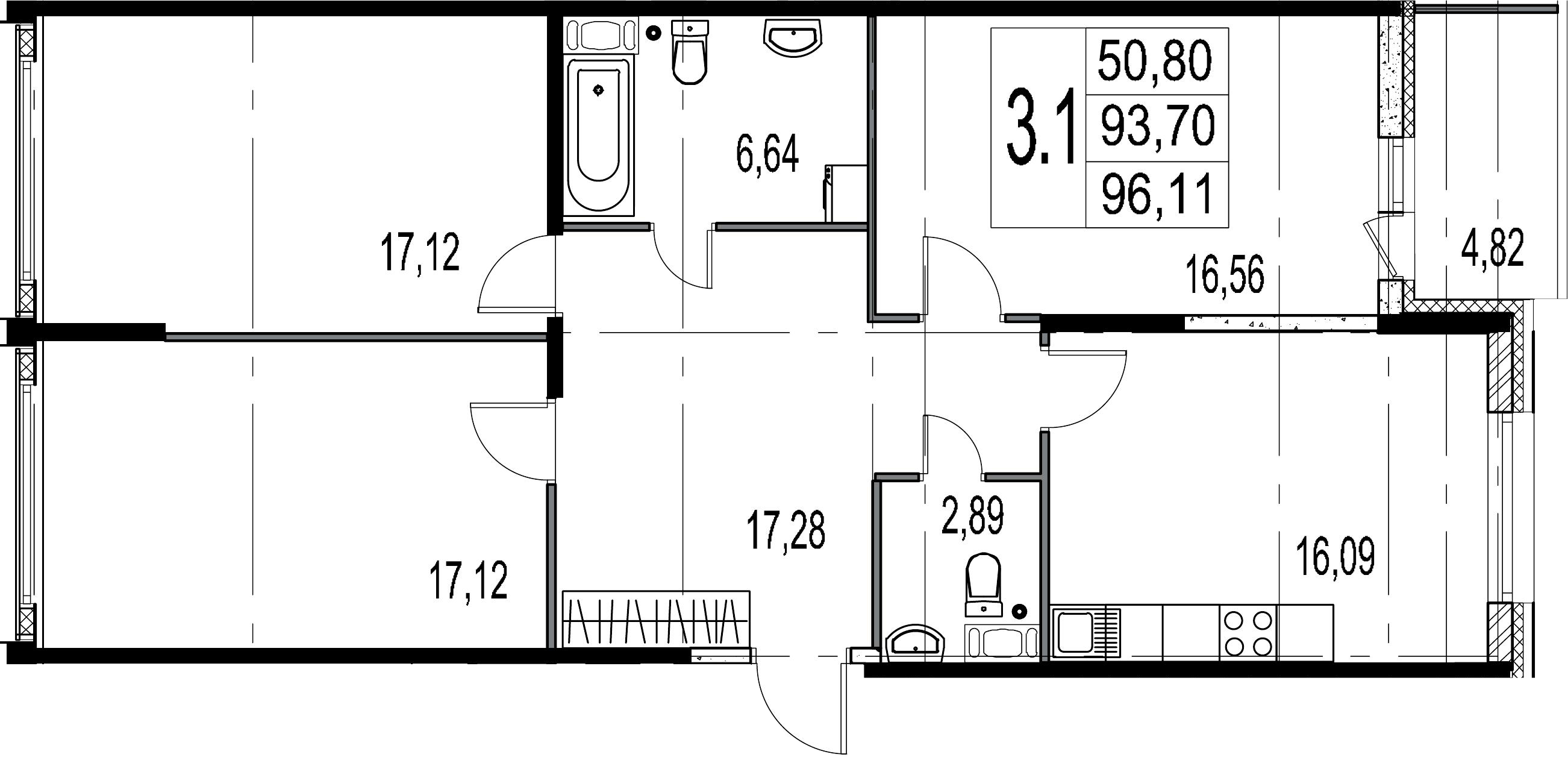 4-комнатная 98 м<sup>2</sup> на 8 этаже