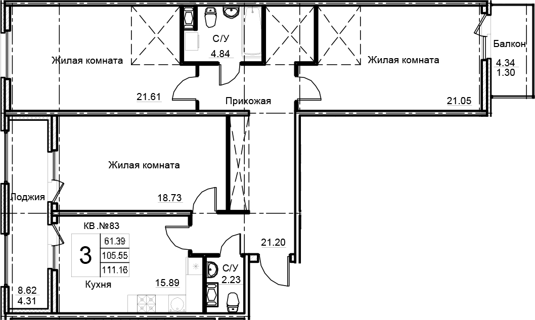 3-комнатная 118 м<sup>2</sup> на 12 этаже