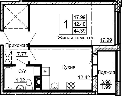 1-комнатная 46 м<sup>2</sup> на 3 этаже