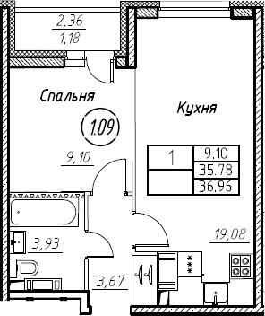 2-комнатная 38 м<sup>2</sup> на 9 этаже