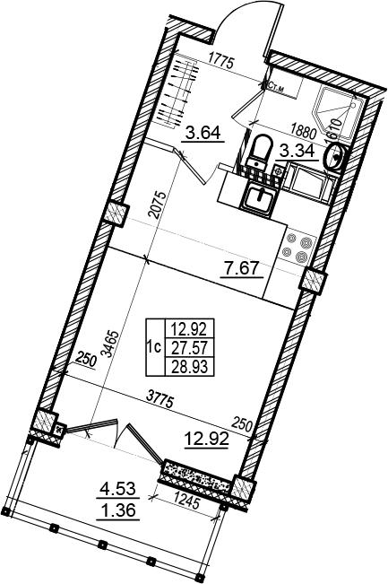 Студия 32 м<sup>2</sup> на 6 этаже