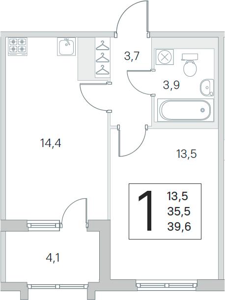 2-комнатная 39 м<sup>2</sup> на 3 этаже