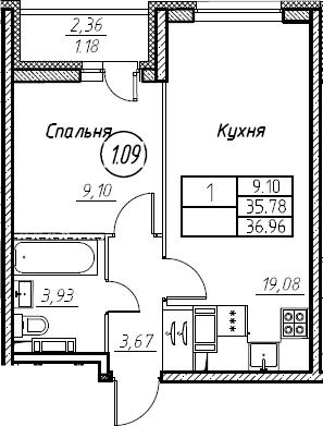 2-комнатная 38 м<sup>2</sup> на 21 этаже