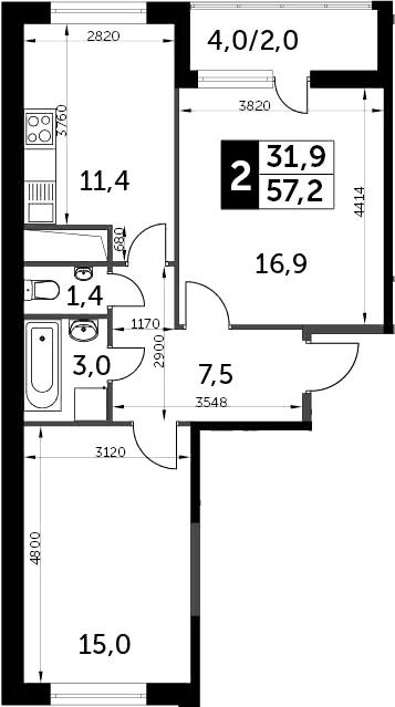 2-к.кв, 59.2 м²