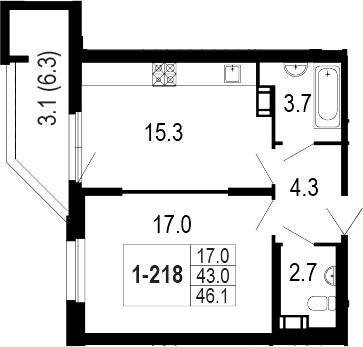 2-комнатная 48 м<sup>2</sup> на 2 этаже