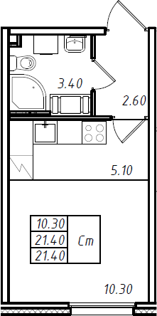 Студия 21 м<sup>2</sup> на 4 этаже