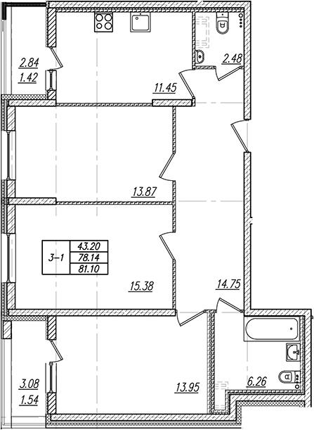 3-к.кв, 84.06 м²
