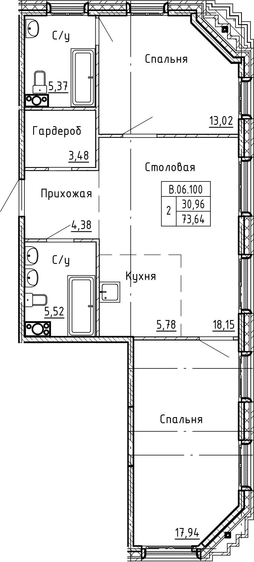 3-комнатная 73 м<sup>2</sup> на 6 этаже