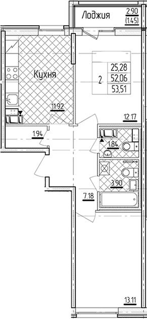 2-комнатная 54 м<sup>2</sup> на 5 этаже