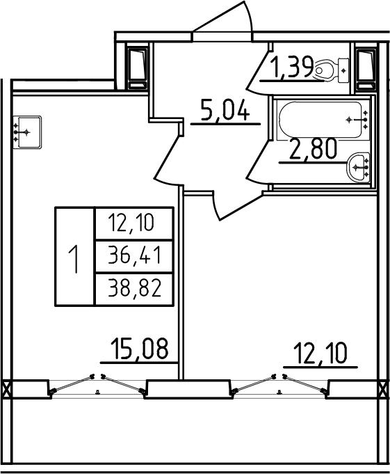 2-комнатная 44 м<sup>2</sup> на 3 этаже