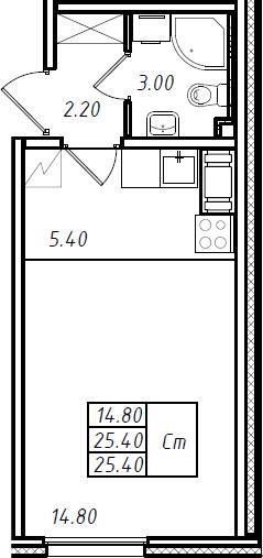 Студия 25 м<sup>2</sup> на 15 этаже