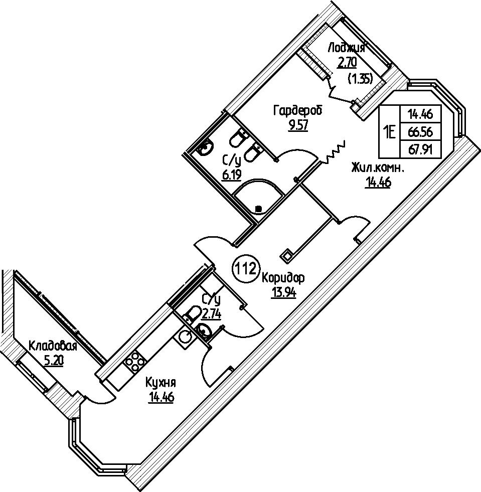 1-комнатная 69 м<sup>2</sup> на 2 этаже