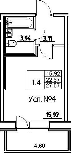 Студия, 27.57 м²
