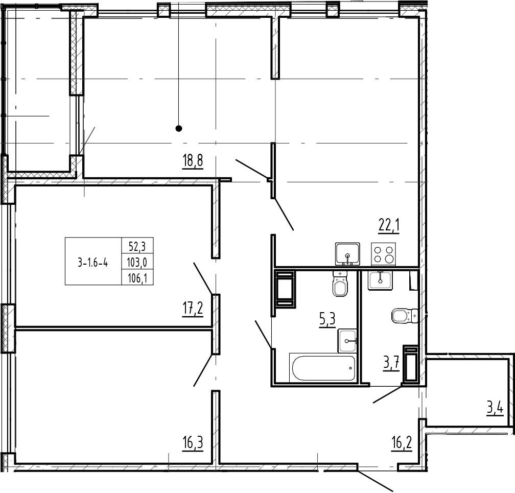 4-комнатная 109 м<sup>2</sup> на 13 этаже